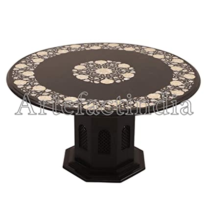 Amazoncom Artefactindia Black Marble Round Coffee Table 36 X 36