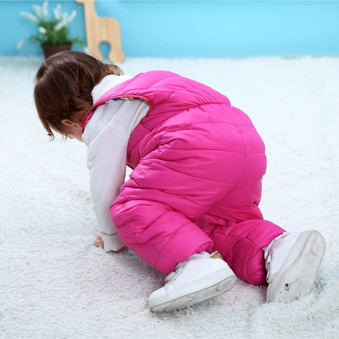 Happy Cherry Baby Down Bib Pants Zipper up Romper Thicken Warm Jumpsuit 1-5T