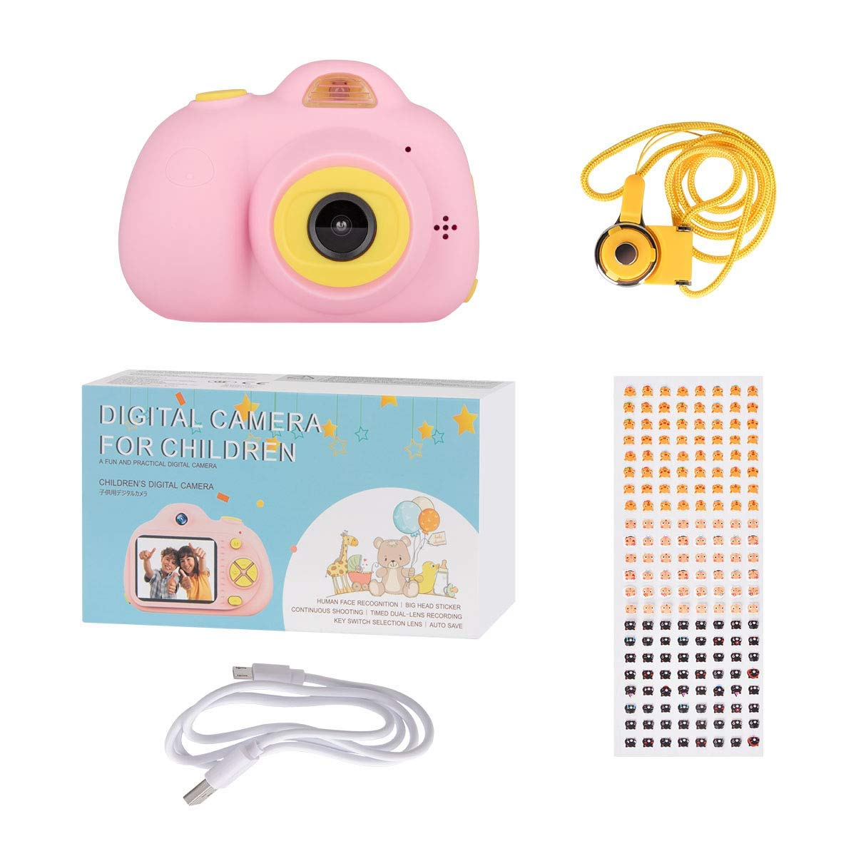 Funkprofi Kids Camera 1080P 8MP Front & Rear Camera Clear Digital Recorder Camcorder for Kids, Selfie Function, Funny Frames, Face Recognition, Support 32GB Memory Card, Best Gift for Boys and Girls by Funkprofi (Image #8)
