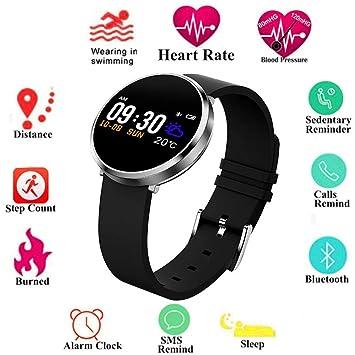 Reloj de pulsera para fitness con pantalla de color redonda, con monitor de actividad deportiva con frecuencia cardíaca, monitor de presión arterial, ...