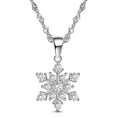 SHEGRACE シルバー925 AAAジルコン 雪の結晶 雪片 雪の花 シルバー ペンダント ネックレス 純銀 ジュエリー レディース