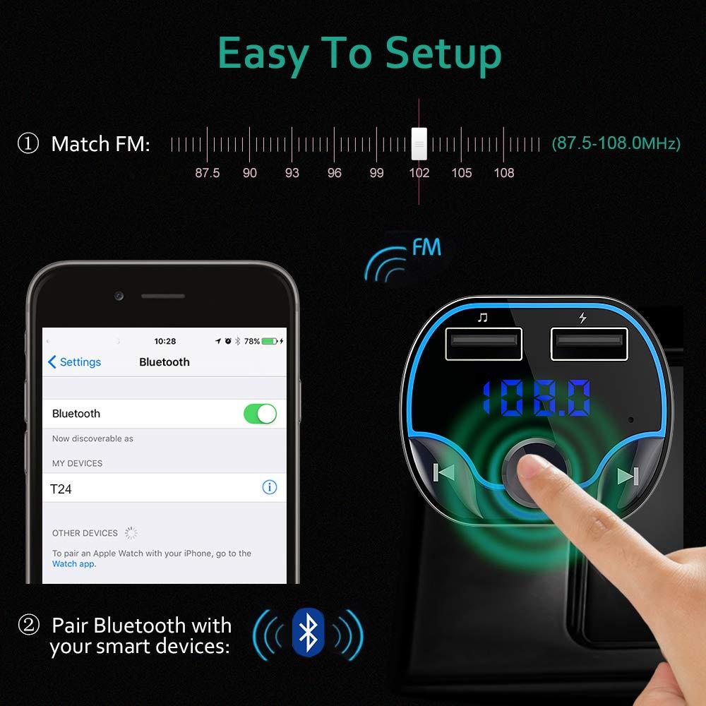Supporto Chiamata Mani Libere Design Compatto Scheda TF FM Transmitter Lettore MP3 Senza Fili con Doppia Porta di Ricarica USB 5V // 2.4A e 1A Disco USB Cocoda Trasmettitore FM Bluetooth,