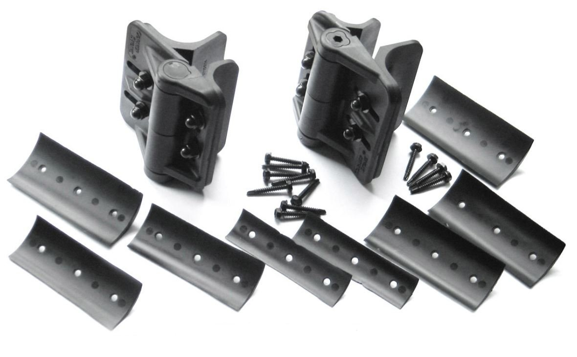 CornerStone Black Nylon Polymer Self-Closing Adjustable Hinges For Round Posts   Fasteners Included   2 Hinges Included   CH200FR-BK