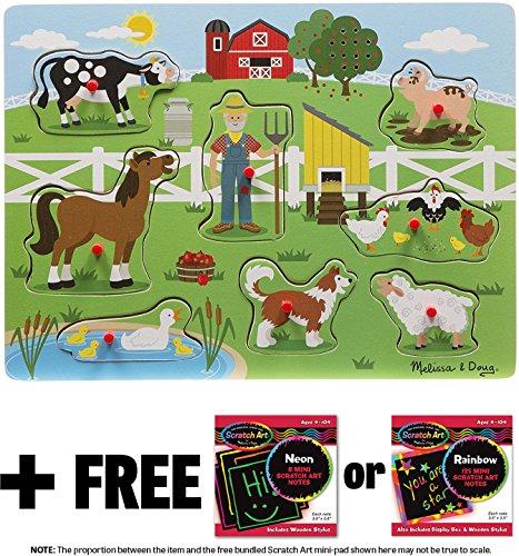 Old MacDonald's Farm: 8-Piece Sound Puzzle + FREE Melissa & Doug Scratch Art Mini-Pad Bundle (07382) -