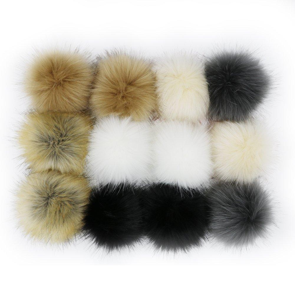 """WPQES DIY 12pcs Faux piel de zorro Fluffy Pompom Ball con cordón elástico para sombreros de sombreros, 10 cm (4 """") colores populares de la mezcla"""