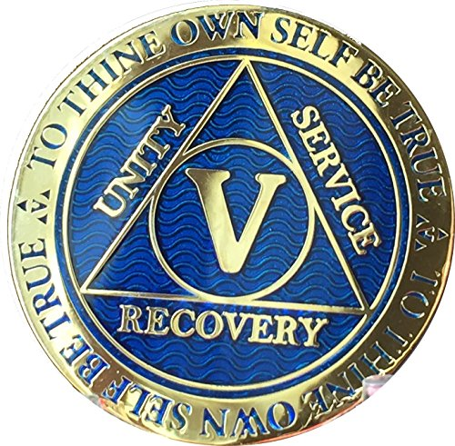 Recoverychip 5 Year Reflex Blue Gold Plated AA Medallion Alcoholics Anonymous Sobriety Chip ()