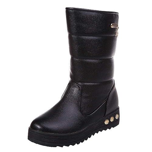 ba6478395e4b Amazon.com  Mysky Fashion Women Vintage Leather Waterproof Warm Snow ...