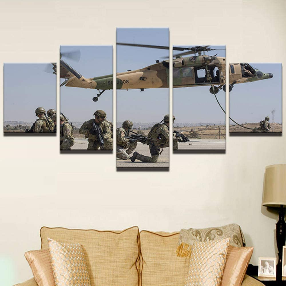 Fbhfbh Wall Art Living Room Printed Picture Home Decor 5 Panel Soldier Military Exercise Modern Hd Canvas Canvas Painting Poster-4X6/8/10Inch,with Frame