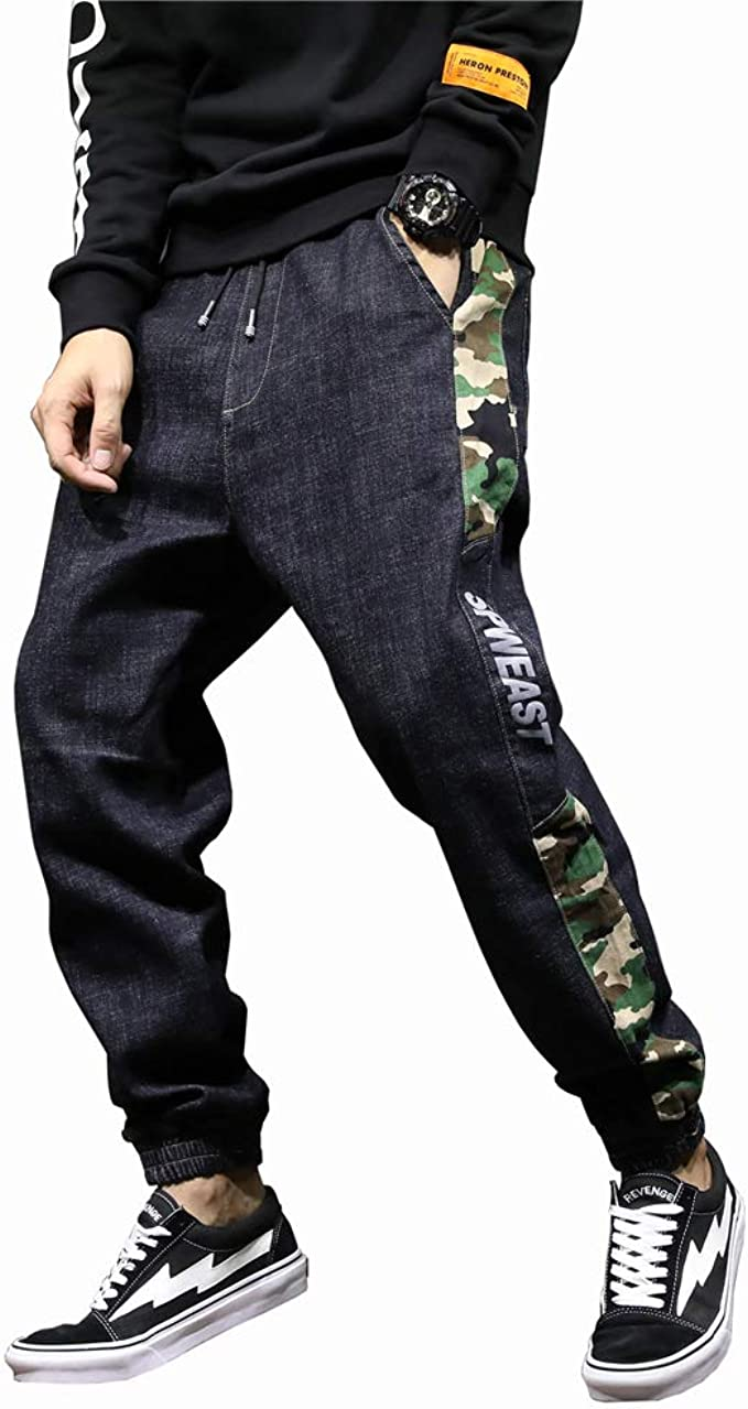 Mfasica Mens with Pockets Middle Waist Washed Straight Leg Holes Retro Pants