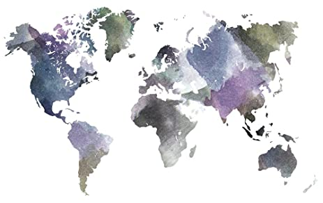 Amazon world map fabric watercolor world by thin line textiles world map fabric watercolor world by thin line textiles printed on basic cotton ultra fabric by gumiabroncs Gallery