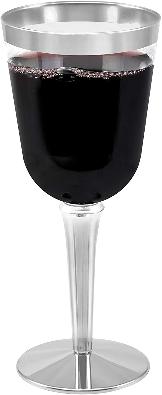 50-Pack Silver Rimmed Disposable Wine Glasses Goblet Cups for Parties Wedding