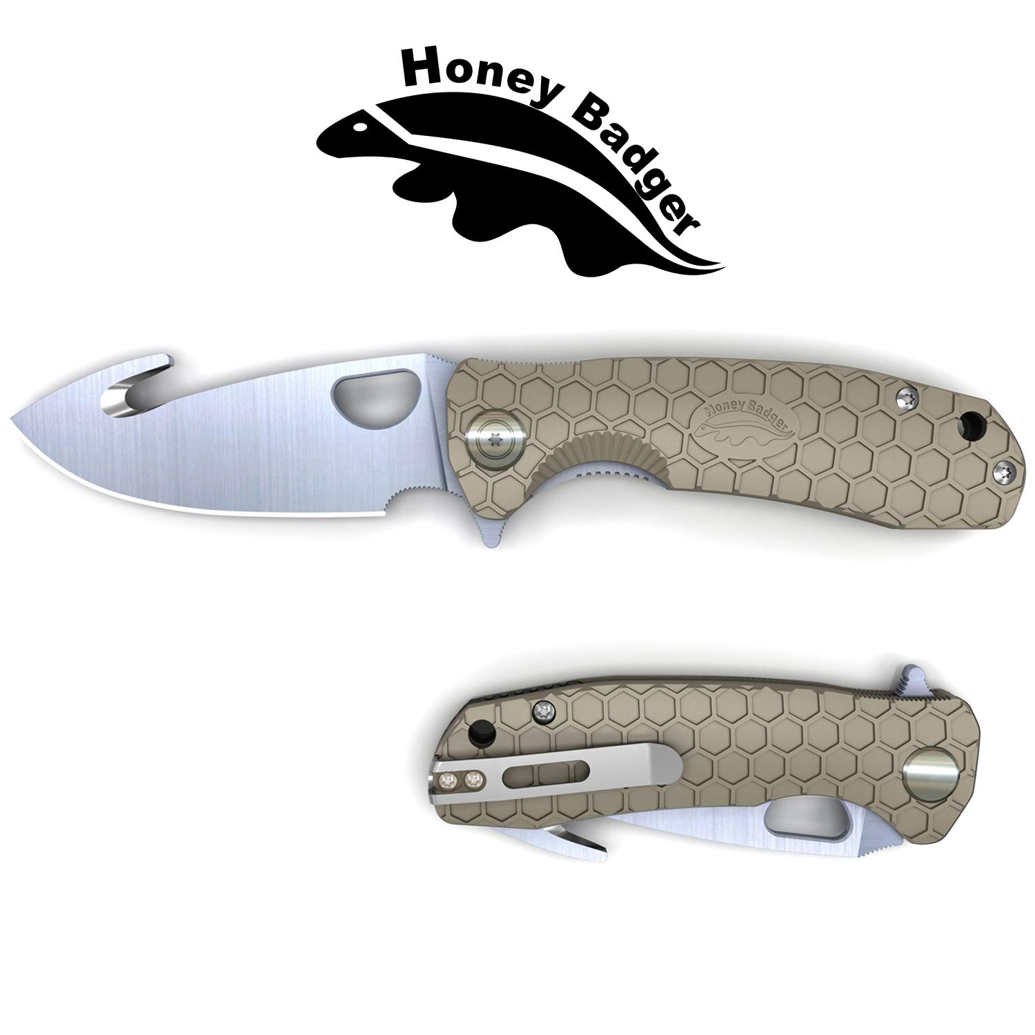 Western Active Honey Badger Flipper Knife Claw and Hook Model Serrated or Smooth Blade (Hook Large Tan) by Western Active