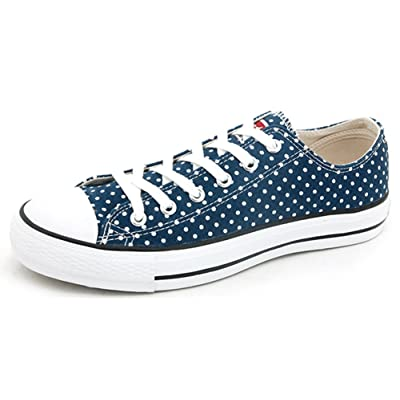 IDIFU Women's Comfy Polka Dots Lace Up Canvas Sneakers Low Top Flat Casual Walking Shoes