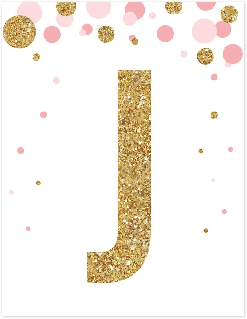 Andaz Press Nursery Wall Art Decor, Pink and Printed Gold Glitter, Letter J, 8.5x11-inch, 1-Pack, Unframed Prints Poster