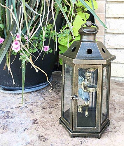 "Large Aluminum Pixie Dust Fairy Hanging Lantern Tea Light Candle Holder 15.75"" Tall"