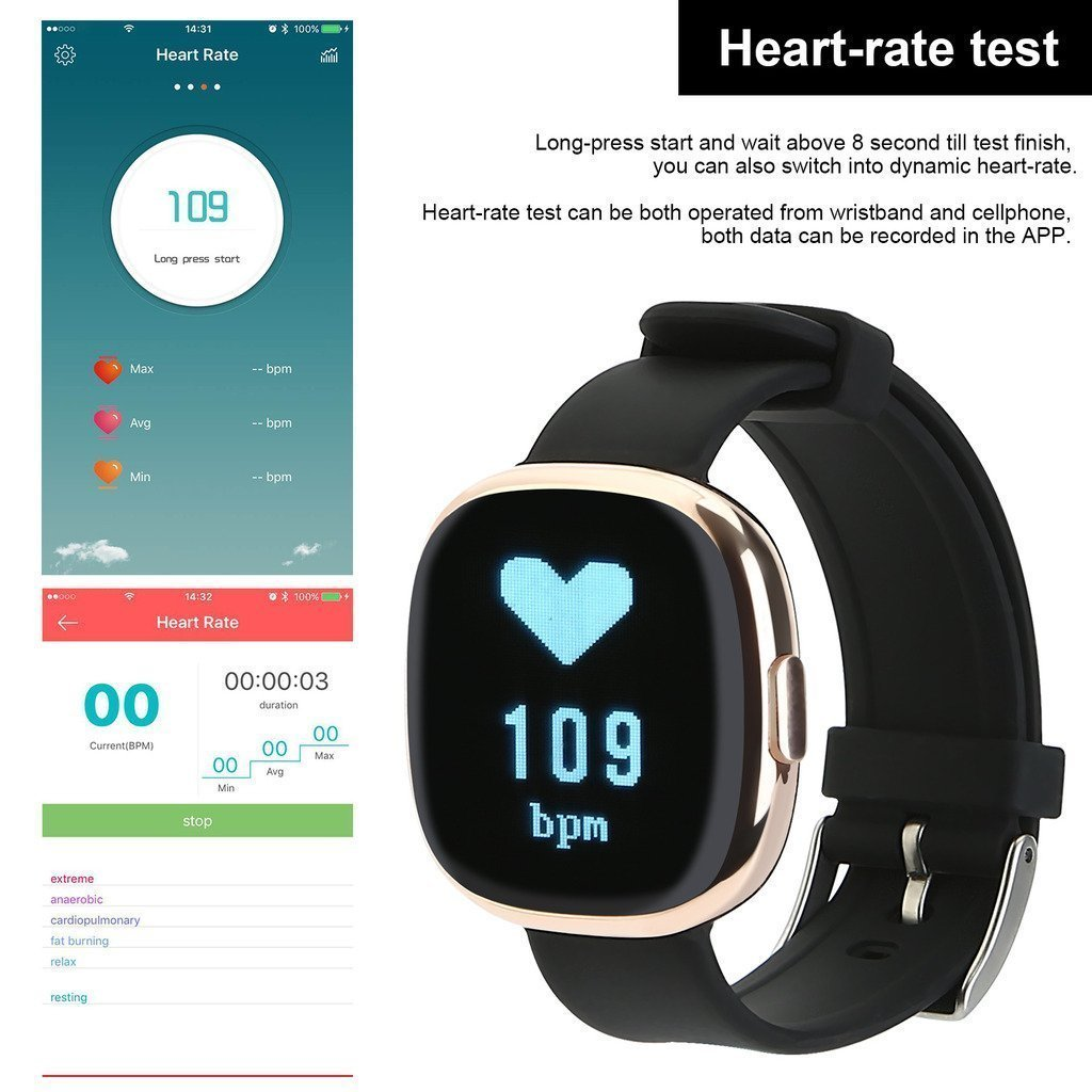 Waterproof Bluetooth Smart Watch with Blood Pressure /Heart Rate / Sleep Monitor Sports Fitness tracker Watch smart band Pedometer for IOS Android Smartphone by Tibang Fitness (Image #6)