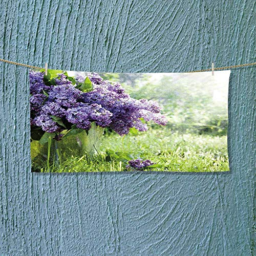 "Leighhome Sports Ttowel Brunch of Lilacs in Bucket Against The Backdrop of Green Garden Absorbent Towel Size: W 12"" x L 35.5"""