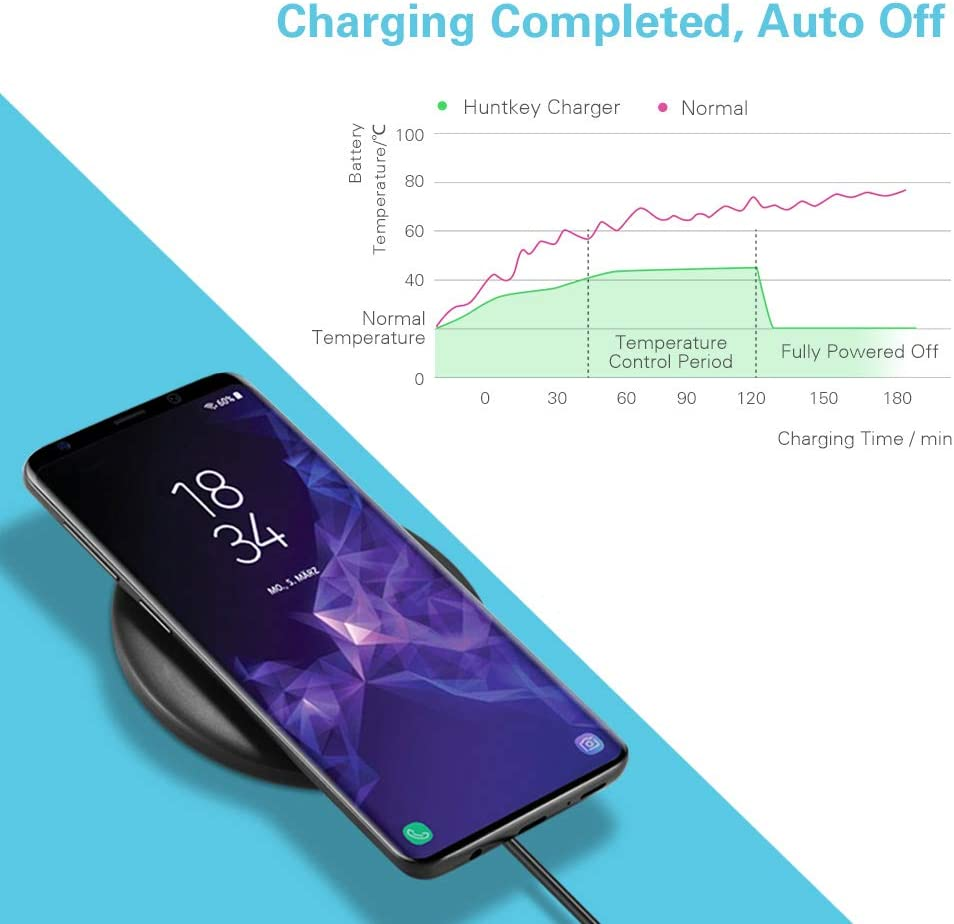 Qi Charging Pad Base 7.5W for iPhone X//Xs//Xs Max//XR//8//8Plus//7- NO AC Adapter Huntkey Wireless Charger 10W for Samsung Galaxy s10//s9//s9 Plus//Note 9//s8//s8 Plus//Note 8//s7