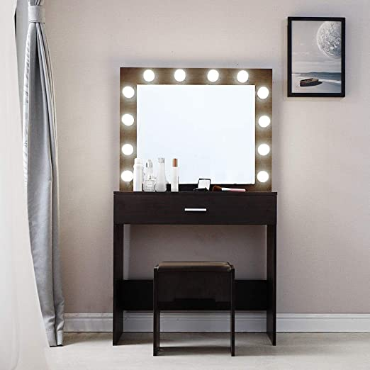 Amazon Com Vanity Makeup Table Set With Lighted Mirror Nxkang Vanity Set With 12 Led Lights Mirror And Cushioned Stool Dressing Table Writing Desk With Bench For Bedroom Bathroom 2 Drawers Kitchen