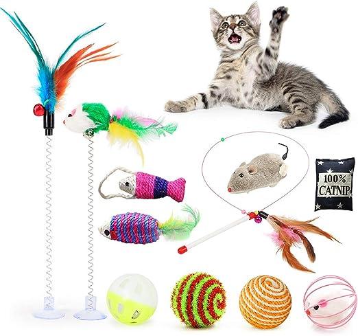 Fansport 11 Piezas Juguete Interactivo Gato ,Juguetes para Gatos con Campanas y Catnip Ball y Plumas y Bolas Varias para Gatos: Amazon.es: Productos para mascotas