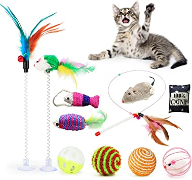 Fansport 11 Piezas Juguetes para Gatos,Juguete Interactivo Gato Juguetes Gatos pequeños con Campanas y Catnip y Bolas Varias para Gatos: Amazon.es: Productos para mascotas