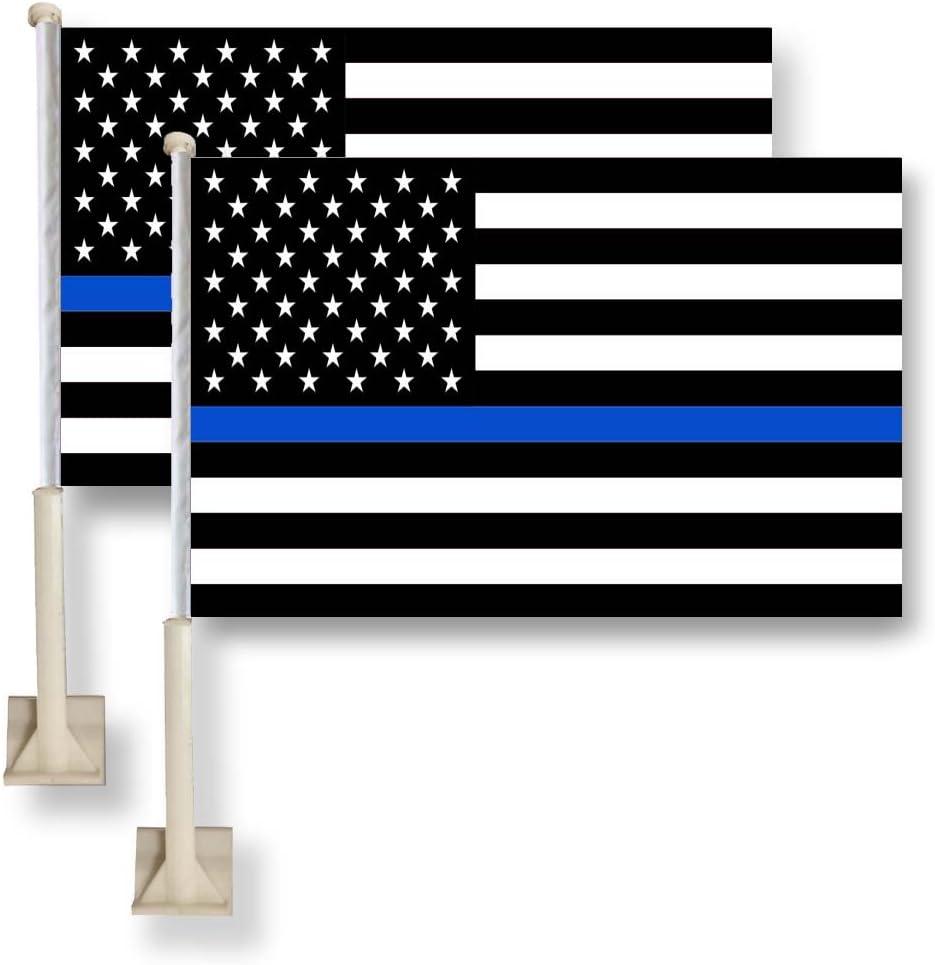 Bandera King delgada línea azul bandera de Estados Unidos coche ventana 11 x 16inch (28 x 40 cm) 100% poliéster, fuerte Color Blanco de golf: Amazon.es: Jardín
