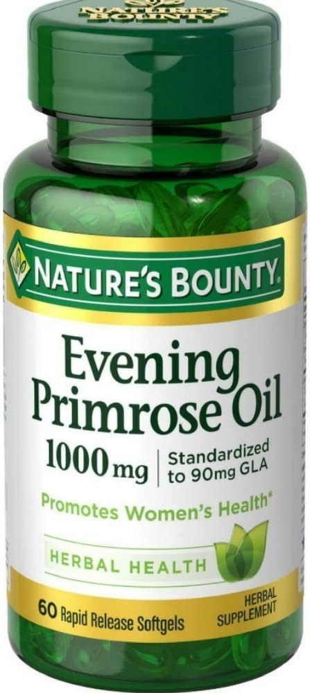 Natures Bounty Evening Primrose Oil Pills and Herbal Health Supplement, Supports Womens Health, 1000mg, 60 Softgels