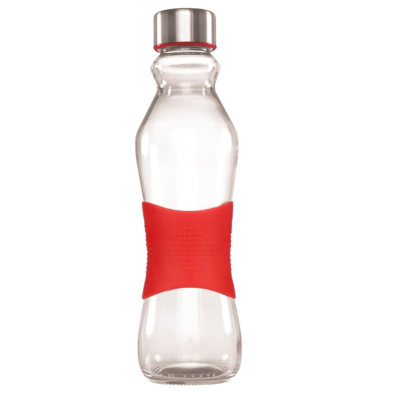 Grip Go Glass 500ml Water Bottle Stainless Steel Lid BLUE