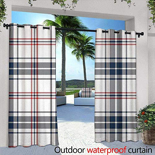 Tim1Beve Outdoor Curtain Panel for Patio Abstract English Style Tartan Motif Old Fashioned Cultural Striped Display Energy Efficient, Room Darkening 84