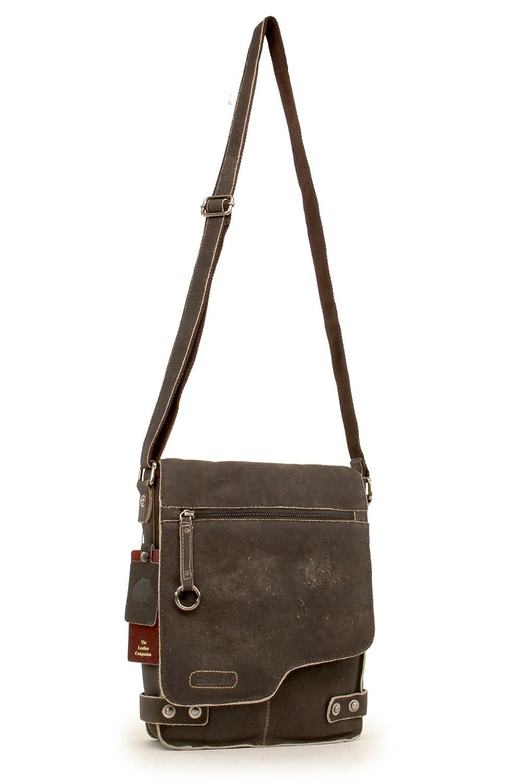 Ashwood Cross Body Bag - Kindle/iPad / surfplatta storlek - liten axel/messengerväska - nött läder - Camden 8352 Brun