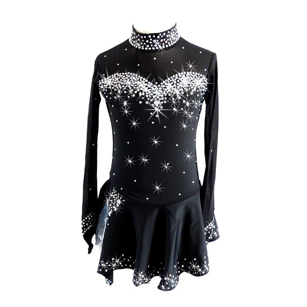 フィギュアスケートドレス女子女の子アイススケートドレスブラックスパンデックスコンペスケートウェアスパンコール長袖フィギュアスケート ブラック S