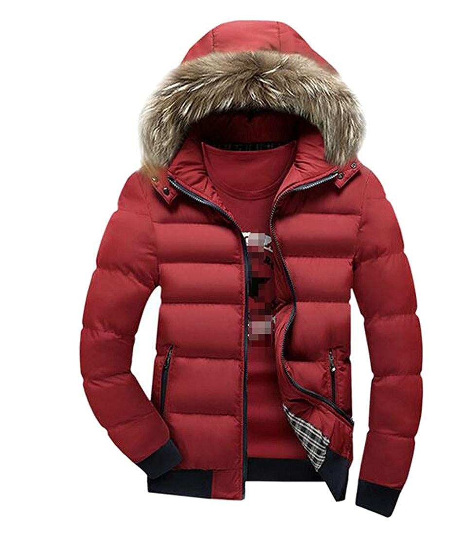 Wofupowga Mens Casual Thicken Padded Faux Fur Hood Spell Color Parkas Coat