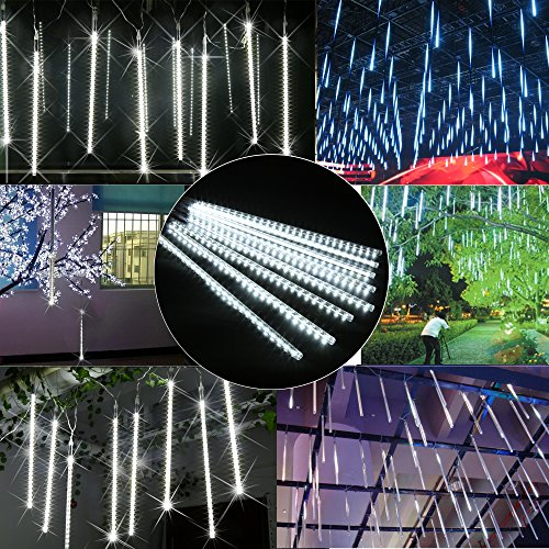 TianNorth-Meteor-Shower-Lights8-Ultra-Bright-LED-Waterproof-cicle-Raindrop-Lights-1968-inches-Tubes-for-ChristmastreeWedding-PartyYardetc-White
