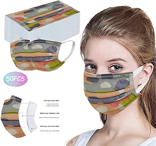 Hmazy Dustproof Disposable Face Covering, 5-12 Days Arrive 50PCs Non Woven Printed Unisex 3 Ply Breathable Oral Protective Sleeve High Filtration Anti-Pollution Oral Bandanas