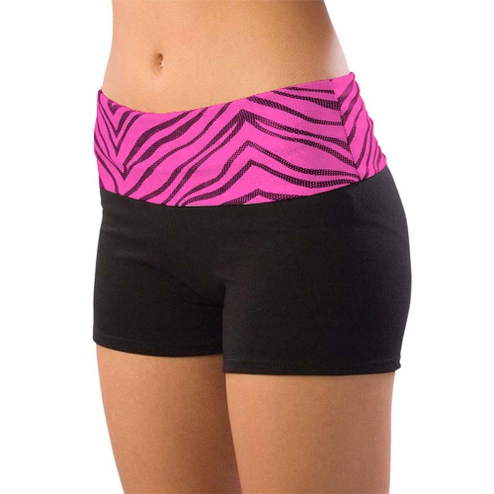 Pizzazz Girls Size 2T-16 Pink Zebra Roll Down Waist Shorts Dance Cheer
