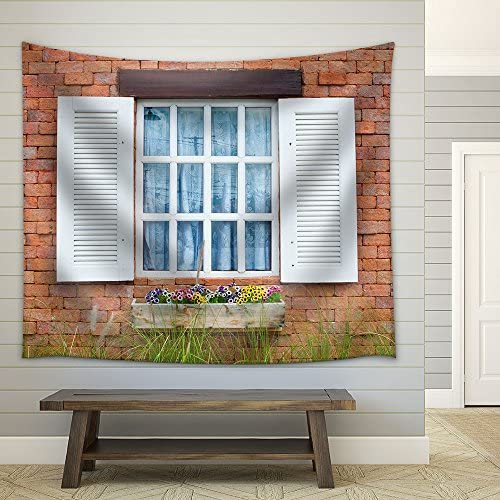 wall26 – White Window on Red Brick Wall of Vintage House Style – Fabric Wall Tapestry Home Decor – 68×80 inches
