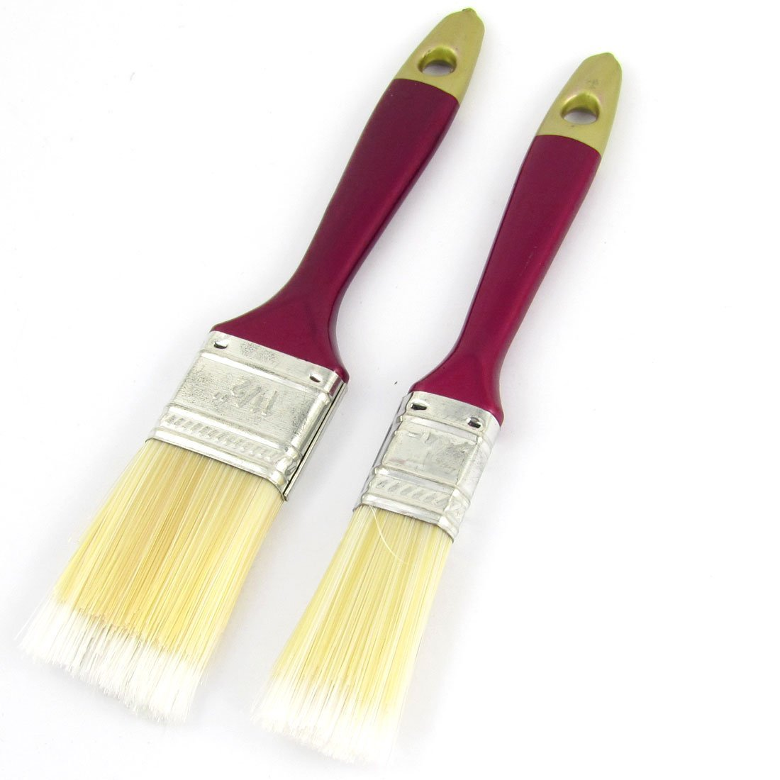 Uxcell Plastic Handle Nylon Bristle Oil Painting Brush, 2 in 1, Red Beige by uxcell