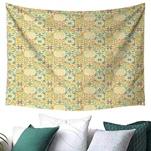 WilliamsDecor Moroccan Wall Tapestry Hanging Pale Italian Style Curly Flowers in Squares Artistic Retro Composition College/Dorm Decoration 84W x 70L Inch Turquoise Yellow Green