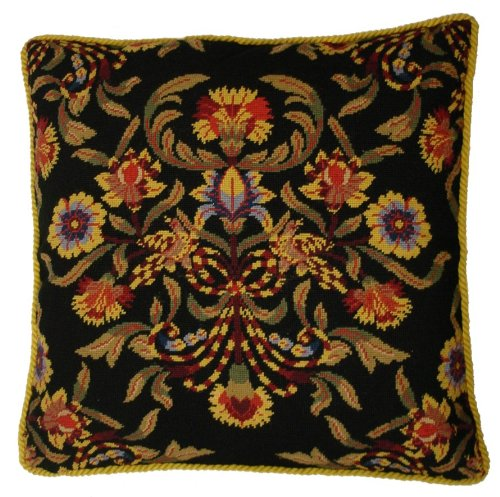 Deluxe Pillows Accented Black - 24 x 24 in. needlepoint pillow