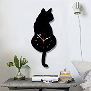 Ukey Wall Clock Creative DIY Cat Acrylic Wall Clock with Swing Tail Pendulum for Living Room Bedroom Kitchen Home Décor - Battery Not Included (42CM x 18CM) Black