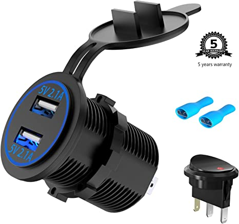Thlevel USB Car Charger Waterproof QC3.0 USB Charger Socket Power Outlet Adapter with On Off Switch LED Indicator for 12V//24V Car RV ATV Boat Marine Motorcycle 1x QC3.0 Socket