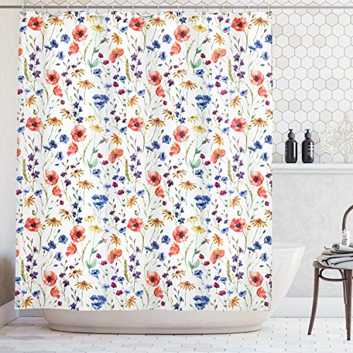 Ambesonne House Decor Collection, Wildflowers Poppy Chamomile Cornflowers Daisies Countryside Fun Illustration Image, Polyester Fabric Bathroom Shower Curtain, 84 Inches Extra Long, Coral Navy Blue