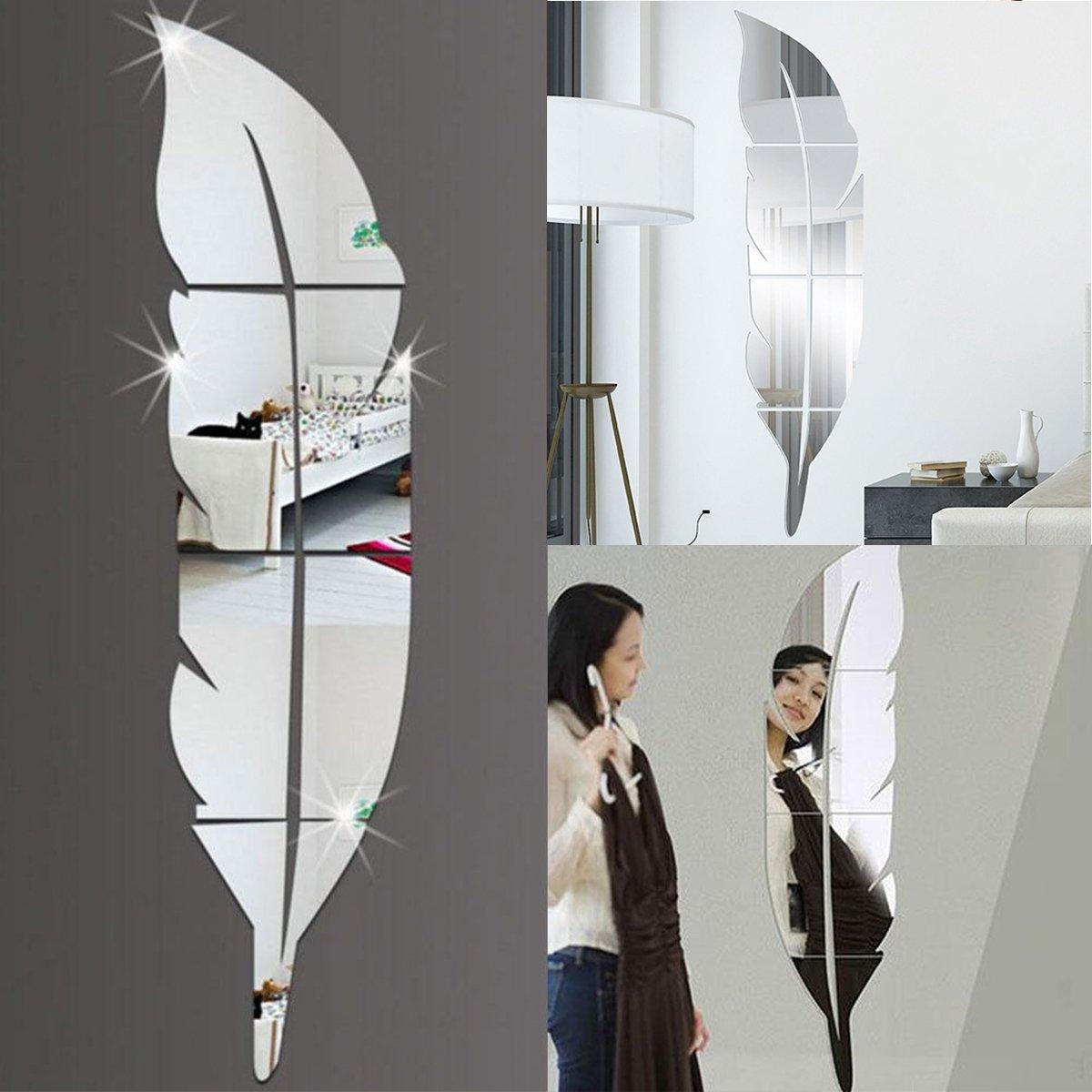 Lovinn - Adhesivo decorativo para pared, diseñ o de espejo, efecto espejo 3D, diseñ o de plumas de vinilo, para decoració n del hogar diseño de espejo diseño de plumas de vinilo para decoración del hogar