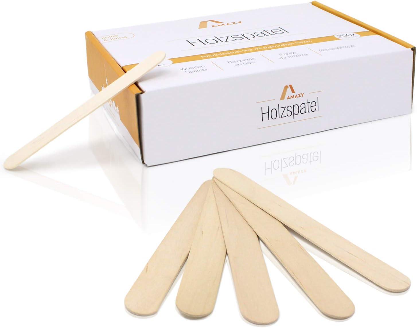 Amazy Palos polo de madera (200 piezas) - Palitos de madera natural ideales para paletas, cera y artesanías (grandes | 150 x 18 mm)