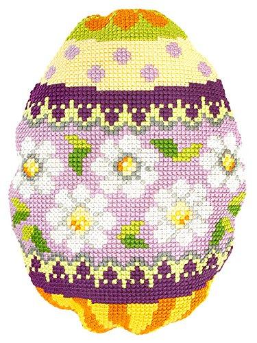 Huevo de Pascua con flores de punto de cruz de cojín: Amazon ...