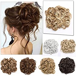 Elailite Messy Curly Combs Hair Bun Extensions Easy Stretch Hair Dish Chignon Clip in Updo Hairpiece Ponytail Scrunchy Accessory for Women 95g Light Brown Mix Golden Blonde