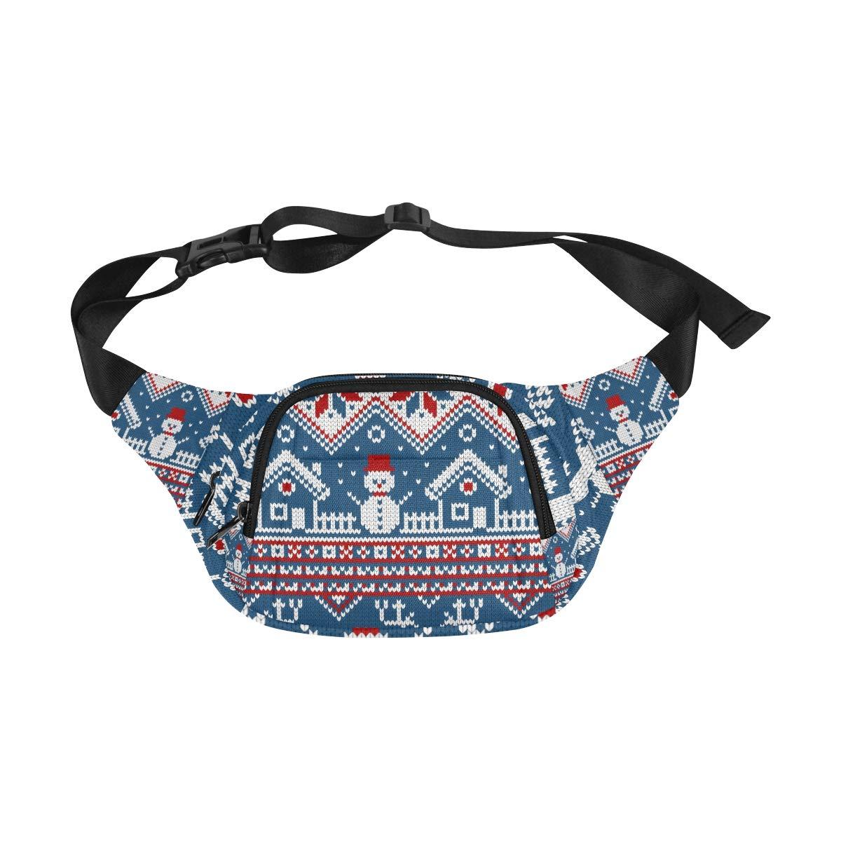 Knit Reindeer Star And Snowflake Fenny Packs Waist Bags Adjustable Belt Waterproof Nylon Travel Running Sport Vacation Party For Men Women Boys Girls Kids