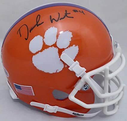 e6d796bee71 Deshaun Watson Signed Auto Clemson Tigers Orange National Champs Sticker  Mini Helmet (Smudged) -