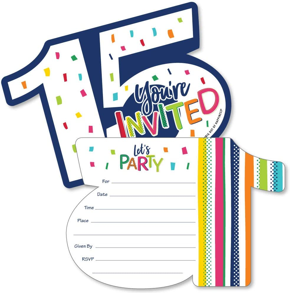 Cheerful Happy Birthday 15th Birthday Set of 24 Colorful Birthday Party DIY Shaped Paper Cut Outs Die Cut Party Decoration Kit