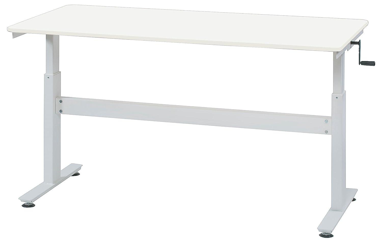 上下昇降式テーブル W1600×D800×H680~1030 ソフトエッジ 手動 ハンドル式 GD-656 (WH:ホワイト) B01N1927W2 WH:ホワイト WH:ホワイト